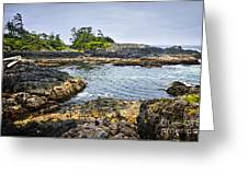 Rugged Coast Of Pacific Ocean On Vancouver Island Greeting Card