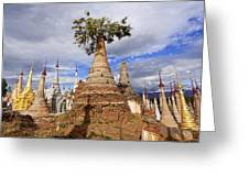 Ruined Pagodas At Shwe Inn Thein Paya Greeting Card
