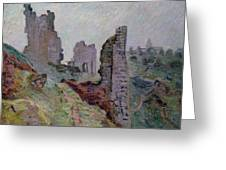Ruins In The Fog At Crozant Greeting Card by Jean Baptiste Armand Guillaumin