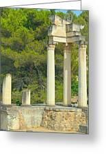 Ruins Of Roman Columns In Glanum  Greeting Card