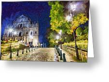 Ruins Of St. Paul's During At Night Greeting Card