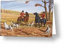Run Fox Run Hunting Painting Commission Greeting Card