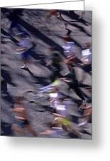Runners Along Street In A Marathon Blurred And Abstract Greeting Card