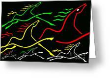 Runnin Horses Greeting Card