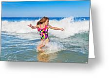 Running From The Waves Greeting Card