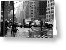 Running In The Rain - New York City Street Scene Greeting Card