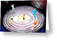 Running On Red Onion Little People On Food Greeting Card
