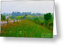 Rural Highway In Oil Paint Greeting Card