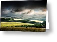 Rural Landscape Stormy Daybreak Greeting Card