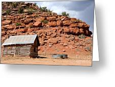 Rural Ranch Cabin During Desert Storm Greeting Card