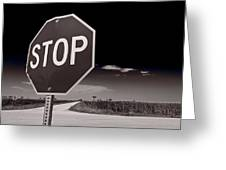 Rural Stop Sign Bw Greeting Card by Steve Gadomski