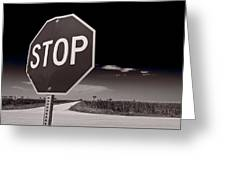 Rural Stop Sign Bw Greeting Card