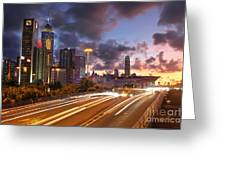 Rush Hour During Sunset In Hong Kong Greeting Card