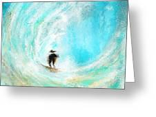 Rushing Beauty- Surfing Art Greeting Card
