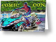 Rushing To Comic Con Greeting Card