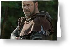 Russell Crowe As Robin Hood Greeting Card by Bob Nolin