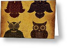 Rustic Aged 4 Owls Greeting Card