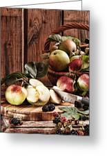 Rustic Apples Greeting Card by Amanda Elwell