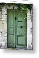 Rustic Green Door With Vines Greeting Card