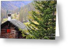 Rustic House And Tree Greeting Card