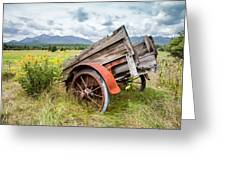 Rustic Landscapes - Wagon And Wildflowers Greeting Card