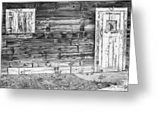 Rustic Old Colorado Barn Door And Window Bw Greeting Card