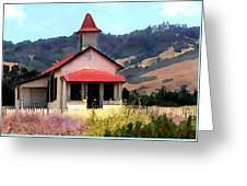 Rustic Old Schoolhouse Near San Simeon California Greeting Card