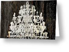 Rustic Shabby Chic White Chandelier On Wood Greeting Card