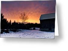 Rustic Winter Sunrise Greeting Card