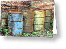 Rusting Oil Barrels Greeting Card