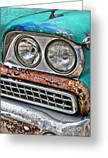 Rusty 1959 Ford Station Wagon - Front Detail Greeting Card