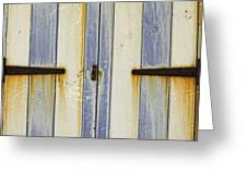 Rusty Beach Hut Greeting Card by Lesley Rigg