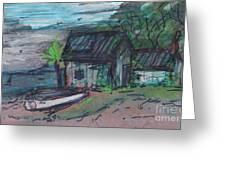 Rusty Boathouse Greeting Card