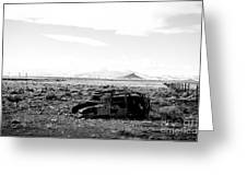 Rusty Car 3 - Black And White Greeting Card