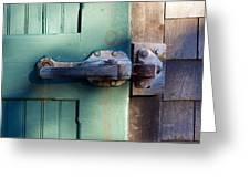 Rusty Door Latch Greeting Card