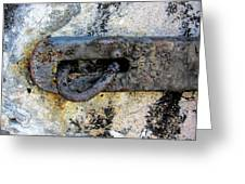 Rusty Dusty And Grimy Lock Plate Greeting Card