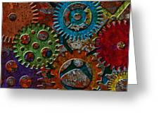 Rusty Gears On Grunge Texture Background Greeting Card