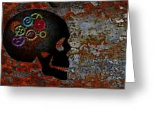 Rusty Gears On Skull Grunge Texture Background Greeting Card