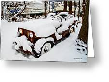 Rusty Jeep In Snow Greeting Card