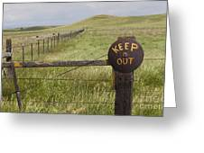 Rusty Keep Out Sign On Fence - California Usa Greeting Card