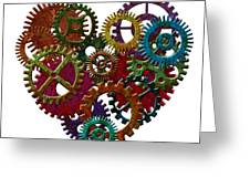Rusty Metal Gears Forming Heart Shape Illustration Greeting Card