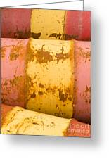 Rusty Oil Barrels Yellow Red Background Pattern Greeting Card