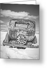 Rusty Old Car In The Snow Greeting Card
