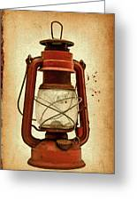 Rusty Old Lantern On Aged Textured Background E59 Greeting Card