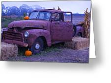 Rusty Truck With Pumpkins Greeting Card