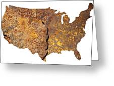 Rusty Usa Map Greeting Card