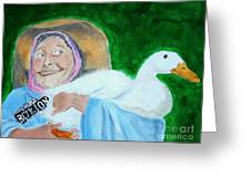 Ruthie The Duck Lady Greeting Card by Katie Spicuzza