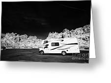 Rv Camping Van Parked At Valley Of Fire State Park Nevada Usa Greeting Card