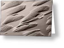 Rythm On Sand With Wave On Sea Coast At Sunset Sepia Greeting Card