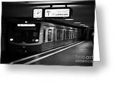 s-bahn train speeding through unter den linden underground station Berlin Germany Greeting Card